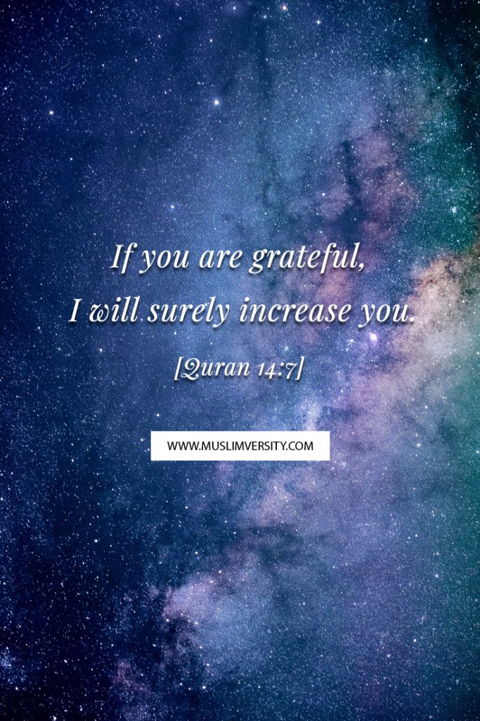 Islamic Quotes from Quran - If you are grateful, I will surely increase you. - [Quran 14:7]